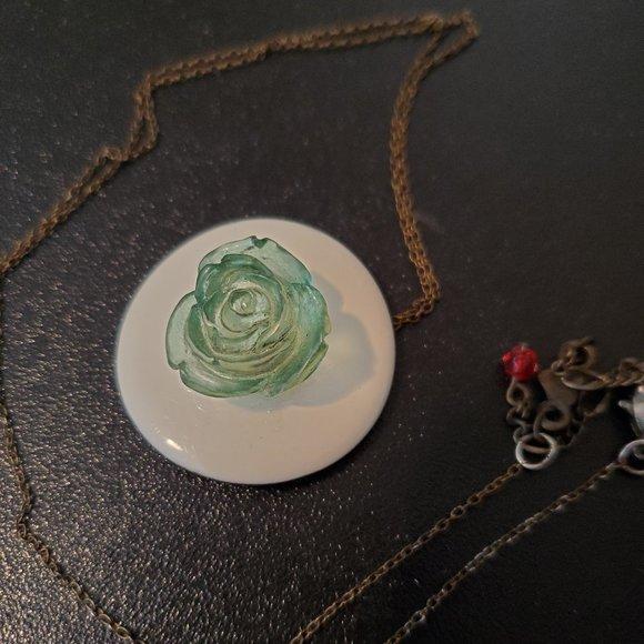 "White Circle Flower Pendant 28"" Necklace Artisan"